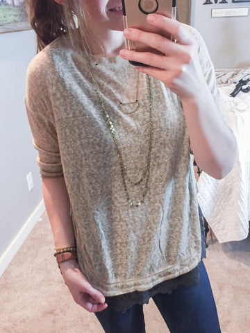 Taupe Round Hem Detail Washed Top