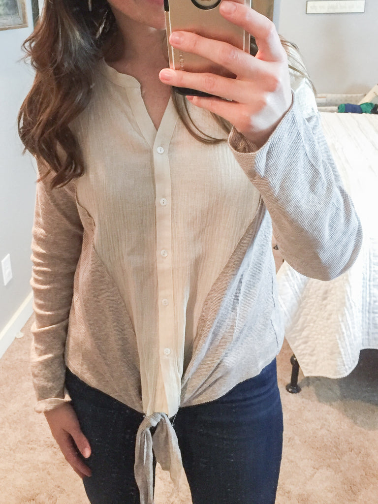 Natural and Mauve Mix Knit tie Front Button Down Top