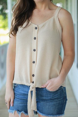 Waffle Knit Cream Button Front Tank