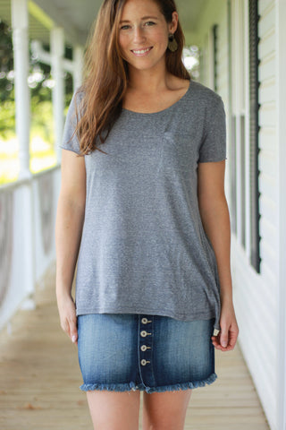 Basic Tee With Pocket and Raw Edges