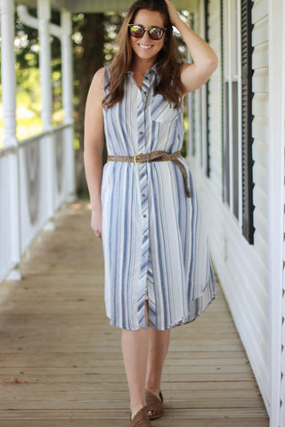 Striped Sleeveless Button Front Shirt Dress