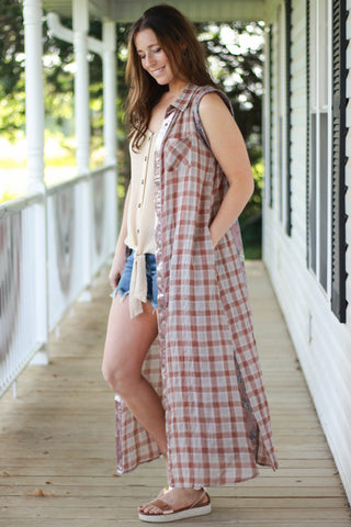 Plaid and Floral Pieced Sleeveless Shirt Dress