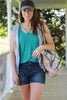 Teal Comfort Basic Tank With V-Neck Details