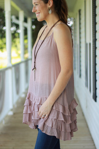 Dusty Rose Ruffled Tunic Tank
