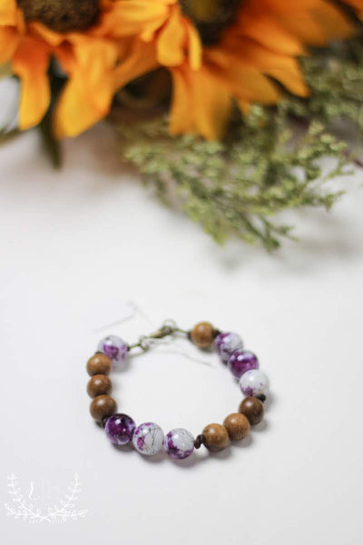 Handmade Wood Bead Purple Bracelet by Liz Cole