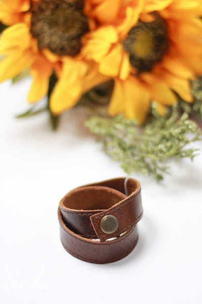 Handmade Leather Wrap Bracelet With Snap by Liz Cole