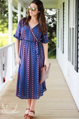 Navy Tribal Boho Print Wrap Dress