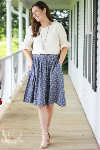 Steel Blue Floral A-Line Skirt by Mikarose