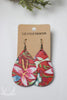 Coral floral printed leather earrings by Liz Cole