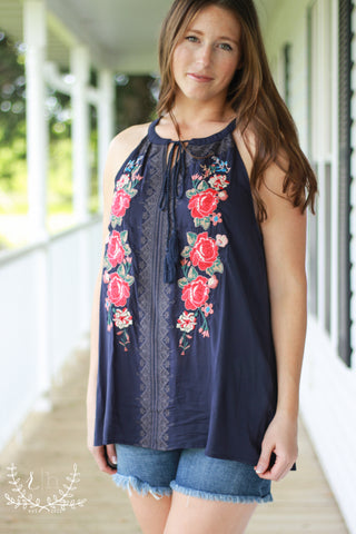 Navy Embroidered Halter Tank