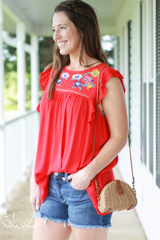Red Babydoll Embroidered Top With Flutter Sleeves