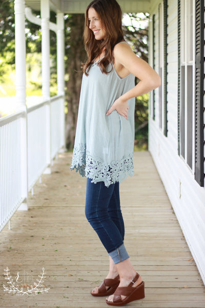 7d9b03437 Ice Blue Lace Tunic Tank