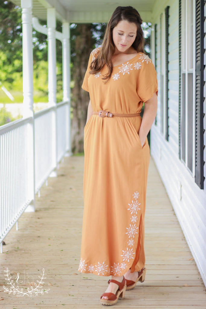 Camel Boho Embroidered Dress With Pockets