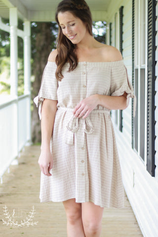 Taupe Off Shoulder Linen Dress