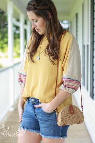 Mustard Waffle Knit Top With Linen Embroidered Sleeves