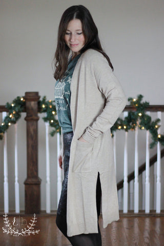 Oatmeal Long Open Front Cardigan