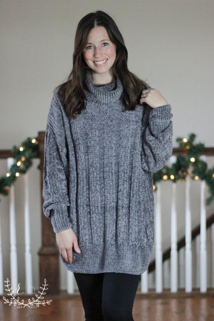 Ash Gray Oversized Chenille Turtle Neck Sweater