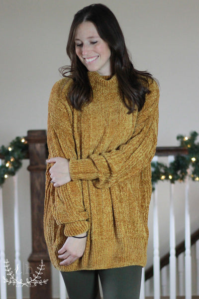 Mustard Oversized Chenille Turtle Neck Sweater