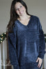 Midnight Navy Oversized V-Neck Chenille Sweater