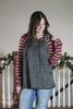 Burgundy & Gray Striped Baseball Hoodie