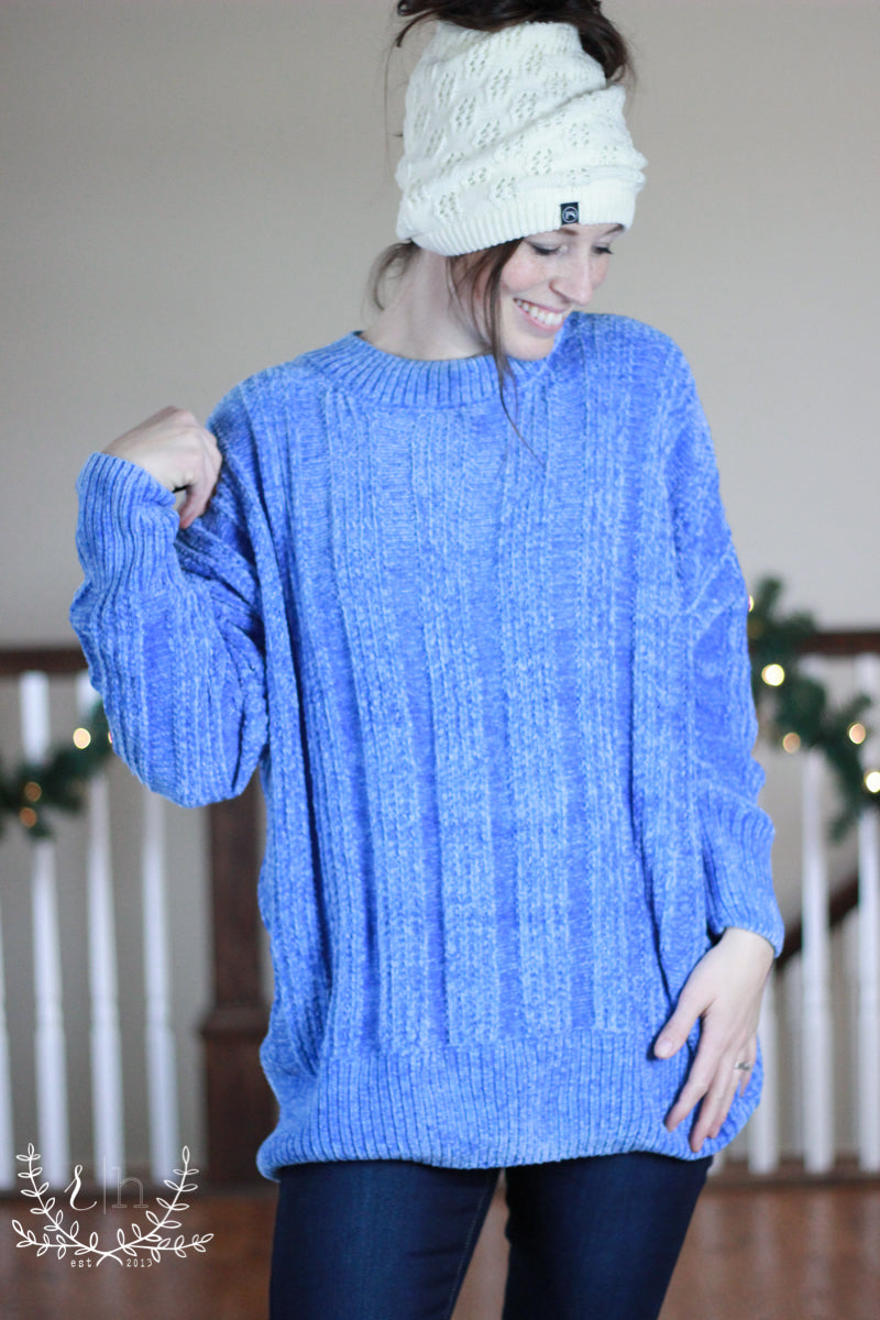 d1b79c6cb32 Ice Blue Oversized Cable Knit Chenille Sweater-Rustic Honey – Rustic ...