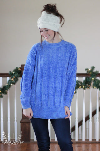 Ice Blue Oversized Chenille Sweater