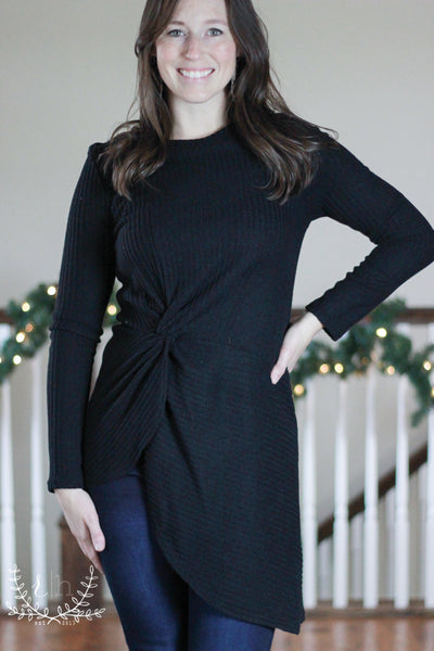 Black Asymmetrical Ribbed Knit Sweater