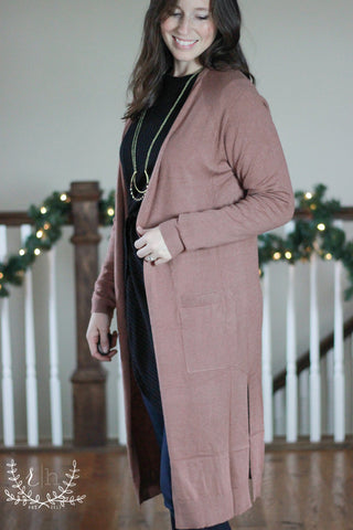 Mauve Long Open Front Cardigan