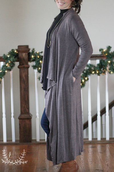 Walnut Brown Brushed Long Cardigan