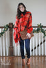 Red Plaid Button Poncho Scarf