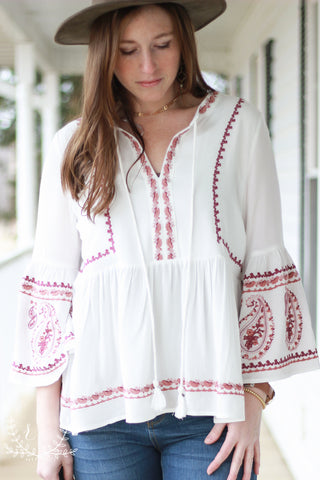 White Peasant Blouse with Detailed Embroidery
