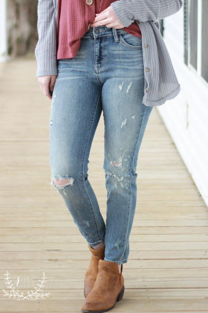 Judy Blue Light Wash Destructed Splatter Jeans