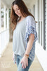 Blue Floral & Gray Waffle Knit Blouse