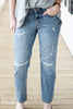 Judy Blue Destructed Boyfriend Straight Crop Denim Jeans