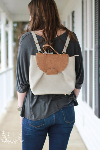 Chic Taupe Faux Leather Backpack