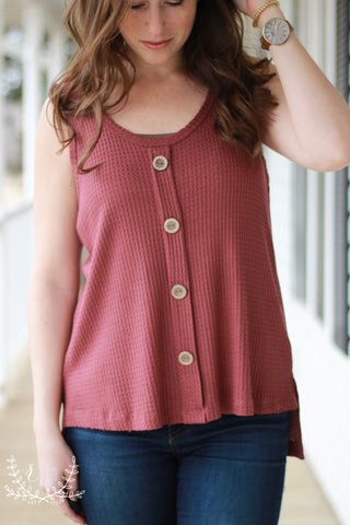 Mauve Waffle Knit Tank with Buttons