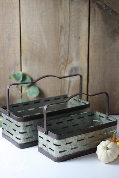Farmhouse Olive Bucket Baskets