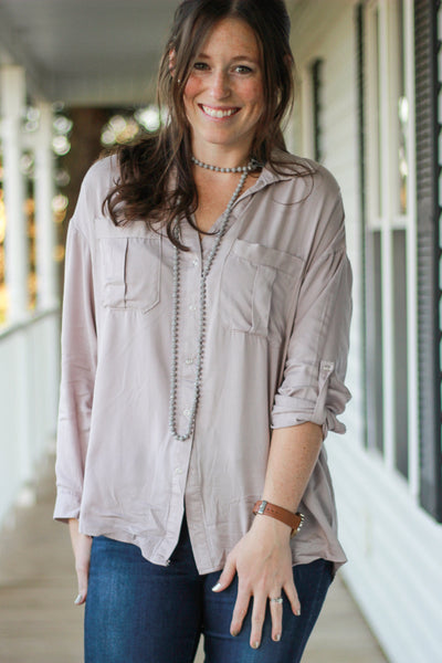 Warm Gray Pocket Front Utility Blouse