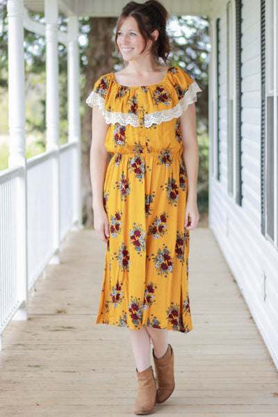 Mustard Floral Tea Length Peasant Dress w/Lace