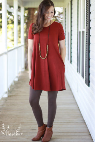 Fire Brick Basic V-Neck T-Shirt Dress With Pockets