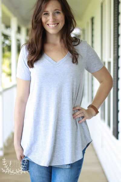 Heather Gray Basic V-Neck Relaxed Fit Tee
