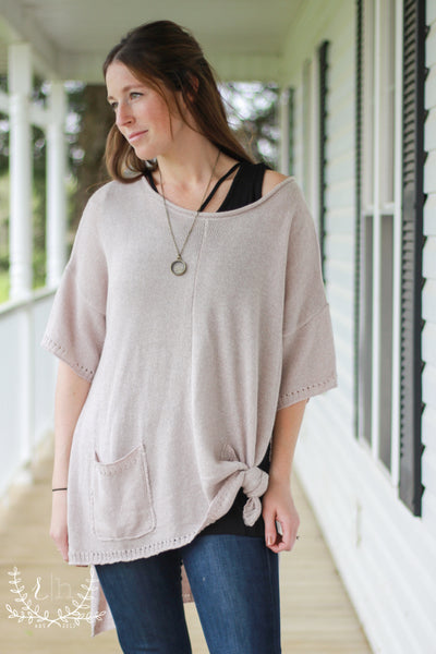 Short Sleeve Lightweight Taupe Sweater