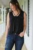 Black Comfort Basic Tank With V-Neck Details