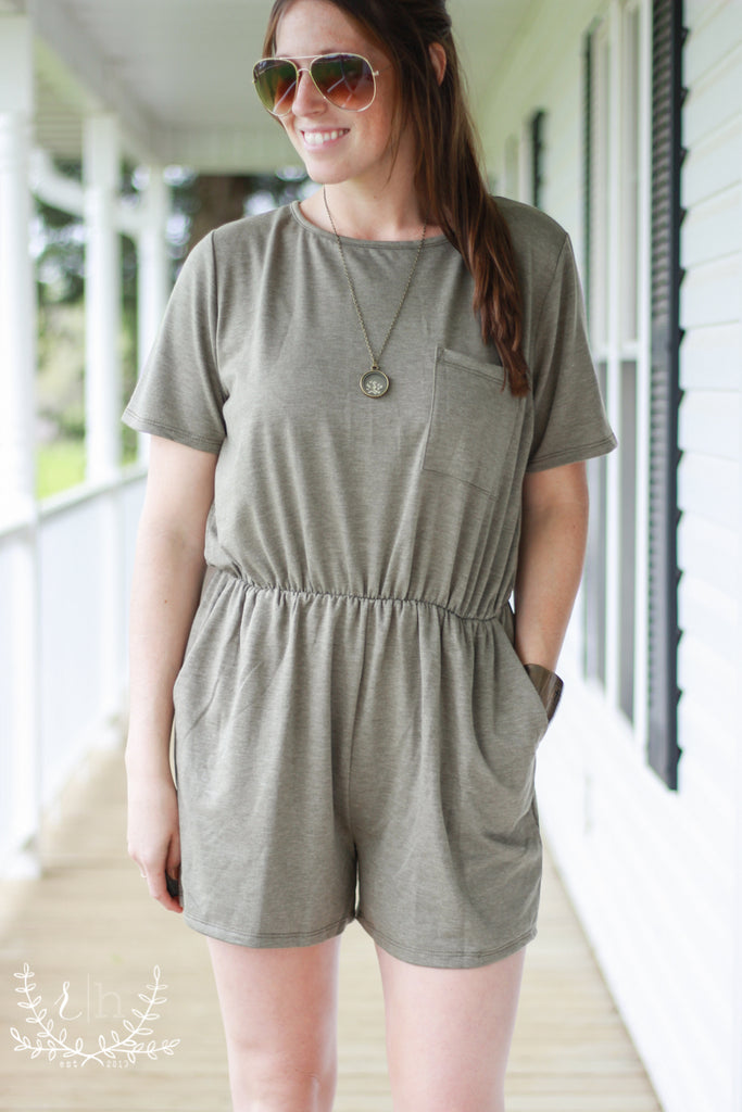 Army Olive T-Shirt Romper With Pockets