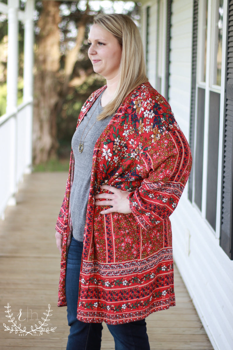 8c2b658b8 Red Floral Mix Kimono - Rustic Honey – Rustic Honey