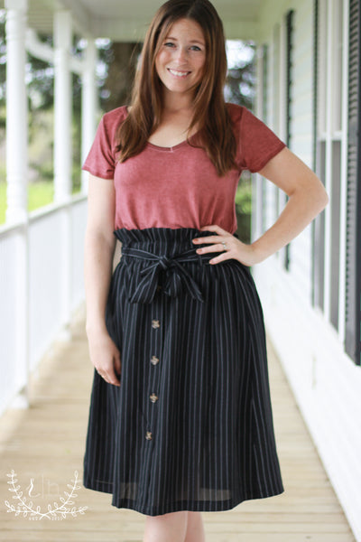 High-Waisted Black Pinstripe Skirt with Buttons