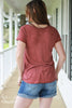 Red Mineral Wash Cutout Neckline Tee