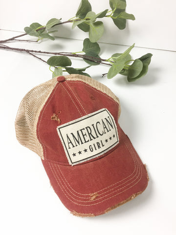 American Girl Red Distructed Hat