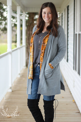 Gray Long Basic Cardigan With Pockets