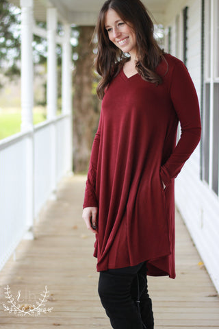 Burgundy Long Sleeve Comfort Basic T-shirt Dress